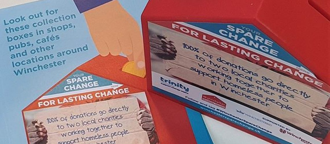 Spare Change for Lasting Change Donation Boxes with Donater Smart Sticker